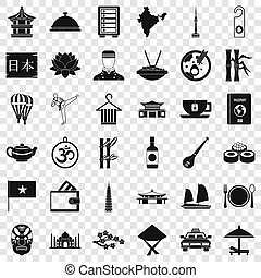 style, icônes, ensemble, pays, simple, plat