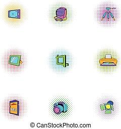 style, icônes, ensemble, photo, tir, pop-art