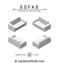 style, icônes, ensemble, plat, sofa, isométrique