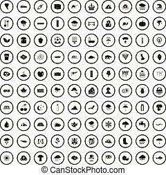 style, icônes, ensemble, pluie, simple, 100