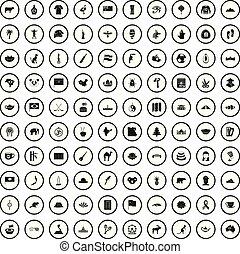 style, icônes, ensemble, repères, simple, 100