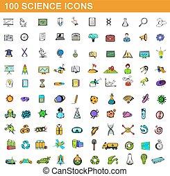 style, icônes, ensemble, science, 100, dessin animé