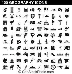 style, icônes, ensemble, simple, 100, géographie