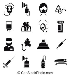 style, icônes, ensemble, simple, anesthésie, urgence
