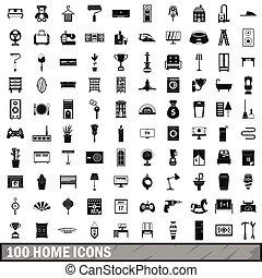 style, icônes, ensemble, simple, maison, 100
