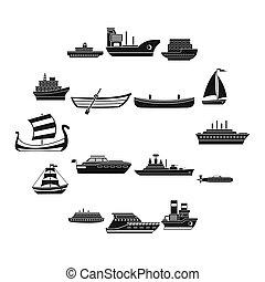 style, icônes, ensemble, simple, mer, transport