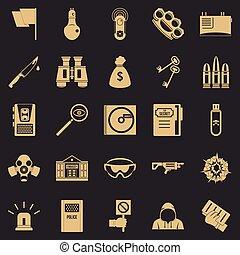 style, icônes, ensemble, simple, mieux, logiciel