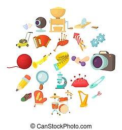 style, icônes, ensemble, sports, passe-temps, dessin animé