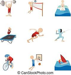 style, icônes, ensemble, sports, professionnel, dessin animé