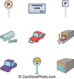 style, icônes, ensemble, station, stationnement, dessin animé