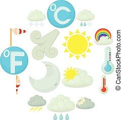 style, icônes, ensemble, symboles, temps, dessin animé