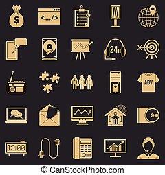 style, icônes, ensemble, système, simple, logiciel
