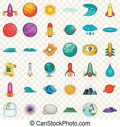 style, icônes, ensemble, système, solaire, dessin animé
