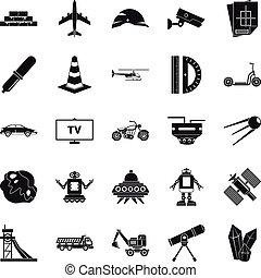 style, icônes, ensemble télé, simple, logiciel