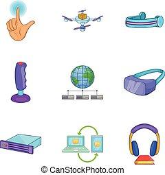style, icônes, ensemble, téléphone sans fil, dessin animé
