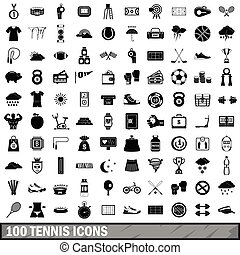 style, icônes, ensemble, tennis, simple, 100