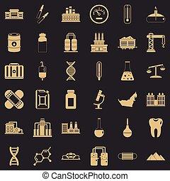 style, icônes, ensemble, usine, chimique, simple