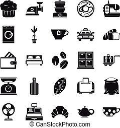 style, icônes, ensemble, ustensile, simple, cuisine