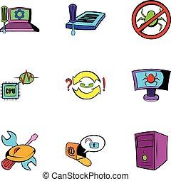 style, icônes, ensemble, virus, informatique, dessin animé