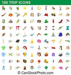 Style, icônes, ensemble, Voyage,  100, dessin animé