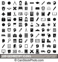 style, icônes, géométrie, ensemble, 100, simple