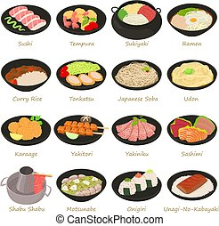 style, icônes, japonais nourriture, ensemble, dessin animé