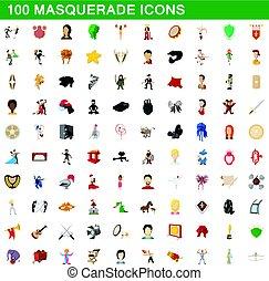 style, icônes, mascarade, ensemble, 100, dessin animé