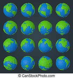 style, icônes, moderne, poly, planète, collection, la terre, géométrique, bas