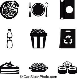 style, icônes, nourriture, ensemble, fait maison, simple