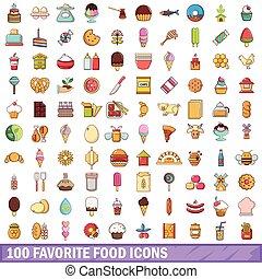 style, icônes, nourriture, favori, ensemble, 100, dessin animé