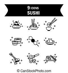 style, icônes, nourriture, icône, ligne, oriental, sushi, menu, japonaise, ensemble
