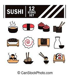 style, icônes, nourriture, icône, ligne, remplir, oriental, sushi, menu, japonaise, ensemble