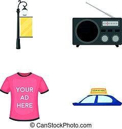 style, icônes, signe, voiture, symbole, web., collection, t-shirt, roof.advertising, vecteur, réverbère, illustration, radio, dessin animé, inscription, stockage