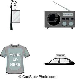 style, icônes, signe, voiture, symbole, web., collection, t-shirt, roof.advertising, vecteur, réverbère, illustration, radio, monochrome, inscription, stockage