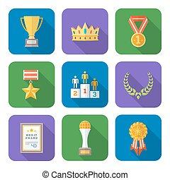 style, icônes, symboles, coloré, divers, collection, plat, récompenses