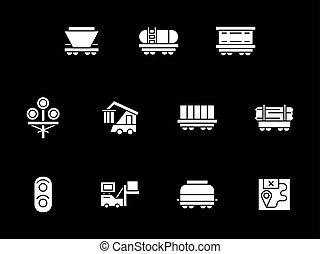 style, icônes, vecteur, ferroviaire, blanc, glyph