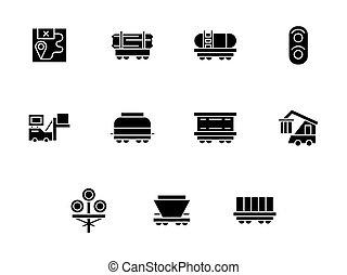 style, icônes, vecteur, noir, fret, ferroviaire, glyph