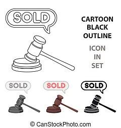 style, illustration., arrière-plan., enchère, symbole, isolé, e-commerce, vecteur, blanc, icône, marteau, dessin animé, stockage