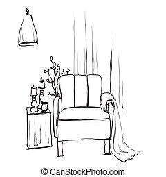style, illustration., couverture, croquis, vecteur, chaise