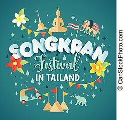 style, illustration., festival, irrigation, seamless, modèle, tropical., eau, songkran, vecteur, papier, avril, thaïlande, fleurs, lettrage
