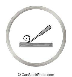 style, illustration., icône, symbole, ciseau, isolé, arrière-plan., vecteur, monochrome, blanc, bois construction, scierie, stockage