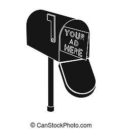 style, illustration., icône, symbole, isolé, bitmap, arrière-plan., noir, rastr, courrier, blanc, stockage, publicité