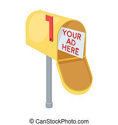style, illustration., icône, symbole, isolé, bitmap, arrière-plan., rastr, courrier, blanc, stockage, dessin animé, publicité