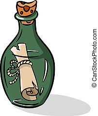 style, illustration., icône, symbole, isolé, dessin animé, arrière-plan., vecteur, bouteille, blanc, stockage, message, pirates