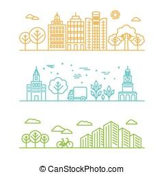 style, illustration, linéaire, vecteur, ville