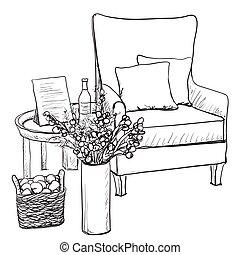 style, illustration., relâcher, croquis, vecteur, chaise