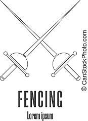 style, illustration., swordplay, moderne, escrime, vecteur, ...
