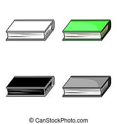 style, illustration., symbole, isolé, dessin animé, arrière-plan., vecteur, livres, blanc vert, icône, livre, stockage