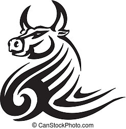 style, image., tribal, -, vecteur, taureau