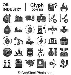 style, industrie, glyph, isolé, carburant, illustrations, icône, croquis, paquet, vecteur, signes, logo, symbols., pictograms, solide, set., collection, huile, toile, blanc, arrière-plan.